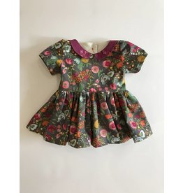 Fall Collared Dress with Back Sash, 0-3m