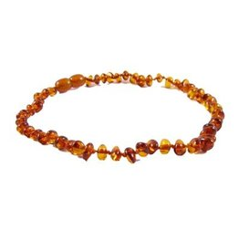 Teething Necklace - Cognac 10""