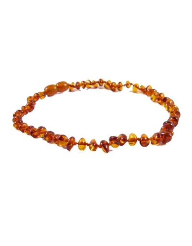 Teething Necklace - Cognac 13""