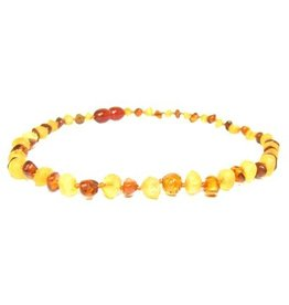 Amber Monkey Teething Necklace - R Lemon/P Cognac 10""