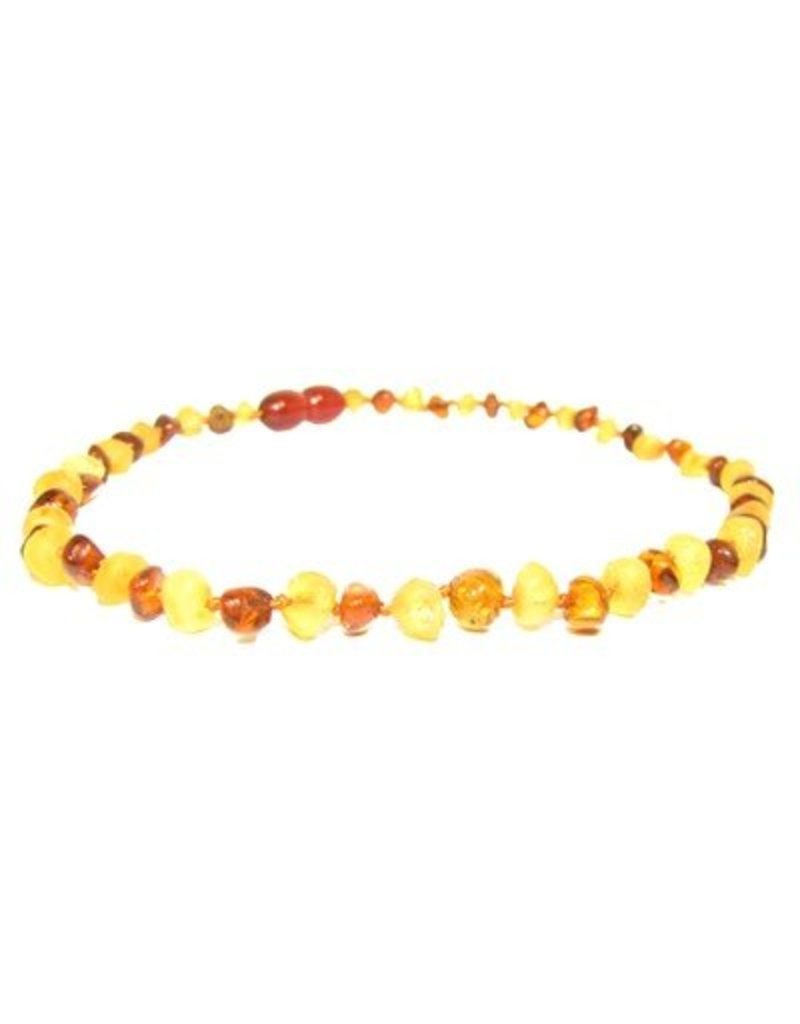 Amber Monkey Teething Necklace - R Lemon/P Cognac 13""