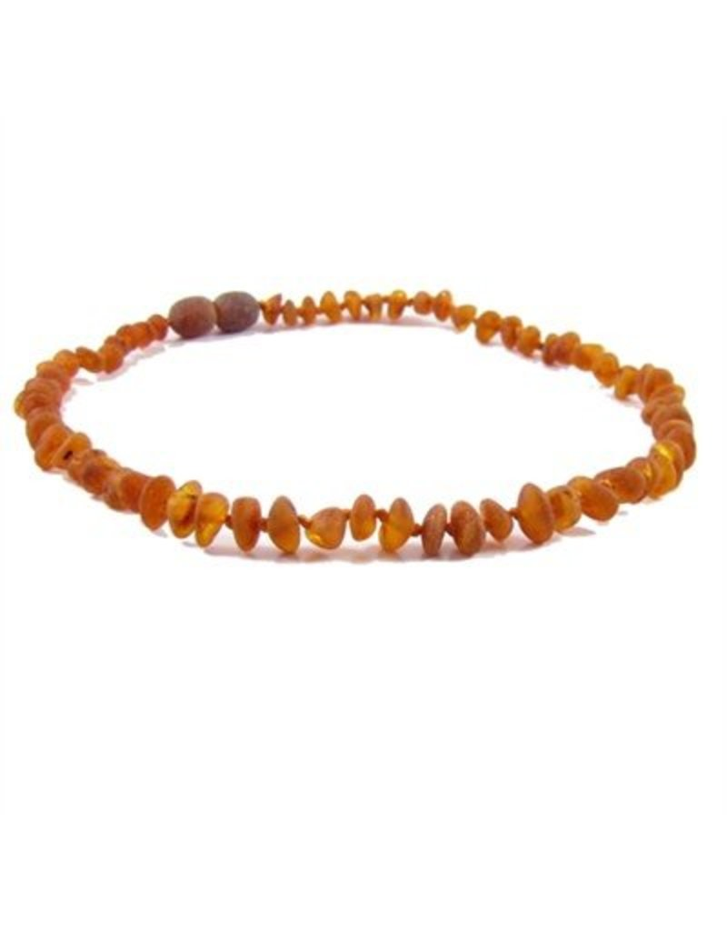 Teething Necklace - Raw Cognac 10""