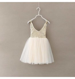 Holiday Sparkle Dress - Cream