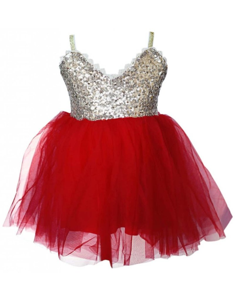 Holiday Sparkle Dress - Red