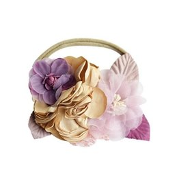 Floral Stretch Headband - Tan & Mauve