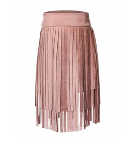 Bailey's Blossoms Fringe Suede Skirt - Dusty Pink