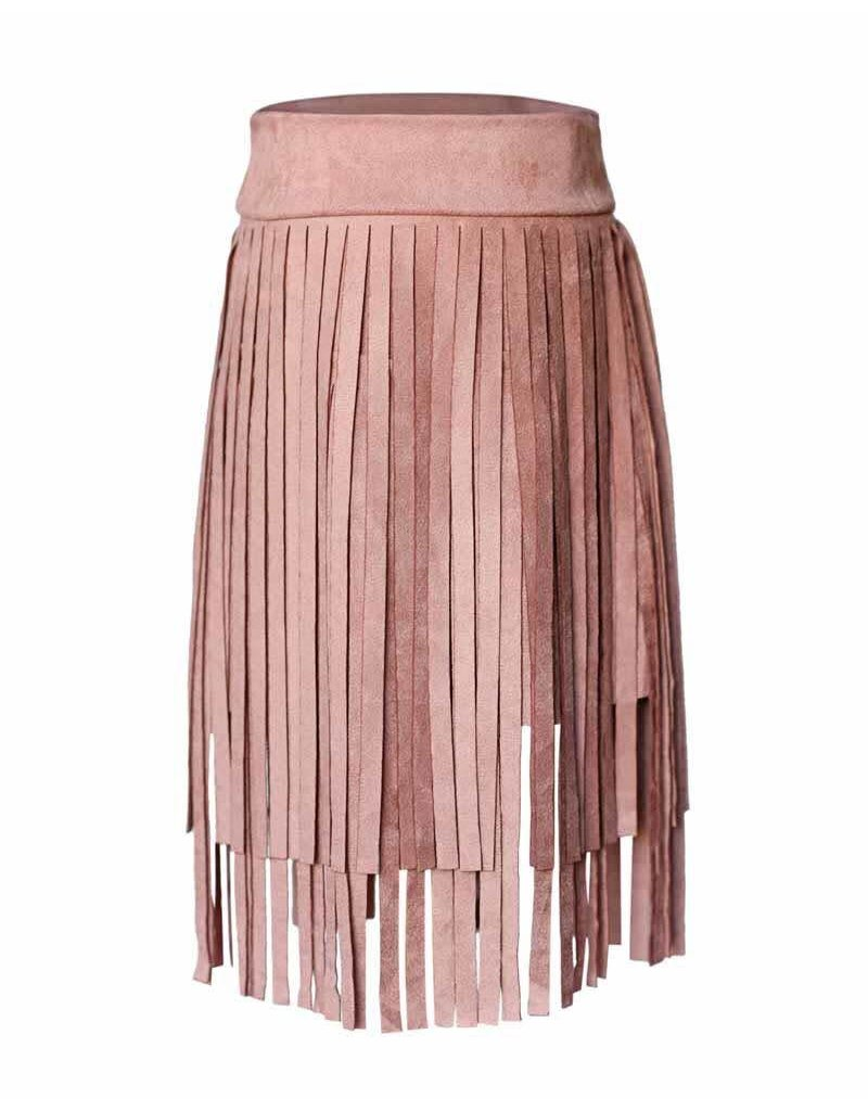 Fringe Suede Skirt - Dusty Pink