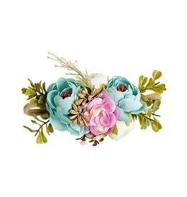Floral Stretch Headband - Aqua, Pink, Ivory