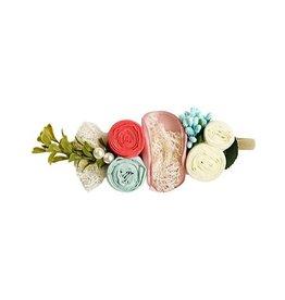 Floral Stretch Headband - Mauve, Coral, Aqua
