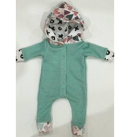 Quiver Full of Children Mint Hearts Romper