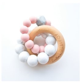 Trinity Wood & Silicone Teether, Tea Rose