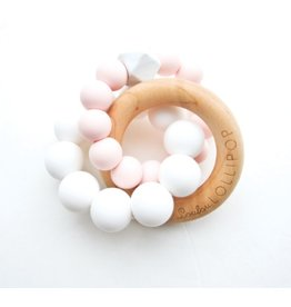 Loulou Lollipop Trinity Wood & Silicone Teether, Pink Quartz