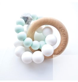 Loulou Lollipop Trinity Wood & Silicone Teether, Mint