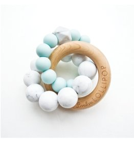 Loulou Lollipop Trinity Wood & Silicone Teether, Robin's Egg Blue