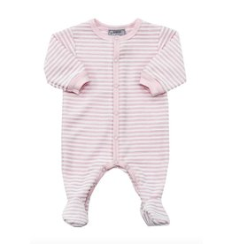 Coccoli Footed Sleeper, Pink Stripes