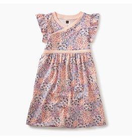 Floral Patch Wrap Neck Dress