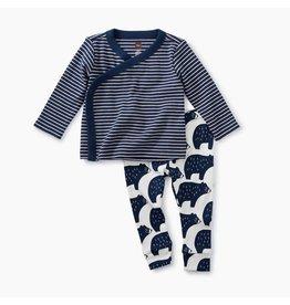 Wrap Top Baby Outfit, Indigo Bear