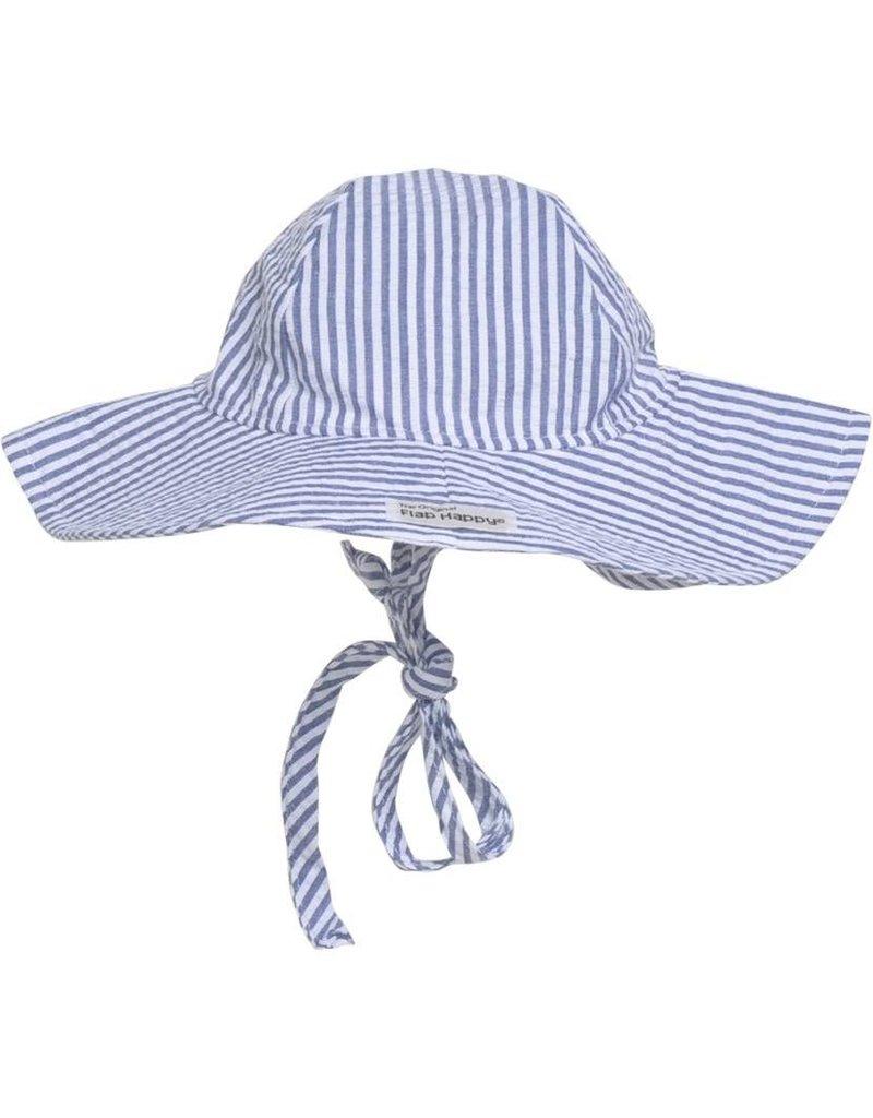 Flap Happy Floppy Hat - Chambray Stripe Seersucker