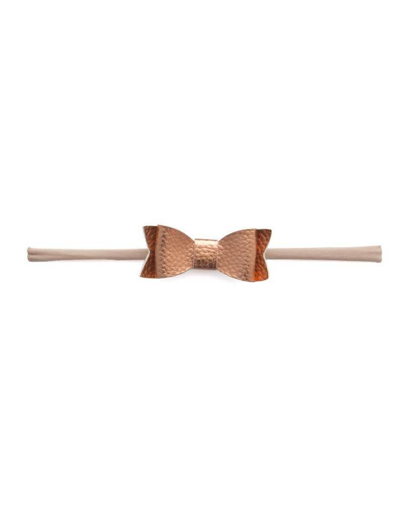 Leather Bow Tie Skinny, Rose Gold