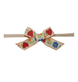 Swedish Bow Headband, Ivory Flower