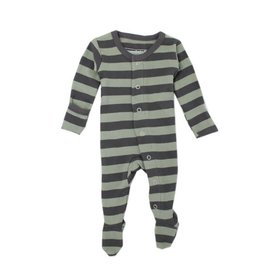 Organic Footed Sleeper, Gray/Seafoam Stripe
