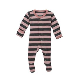 Organic Footed Sleeper, Mauve/Gray Stripe