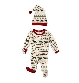 Organic Holiday Sleeper & Cap, Fair Isle Reindeer