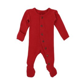 Organic Thermal Footed Sleeper, Ruby