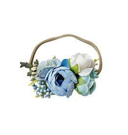 Floral Stretch Headband, Blue
