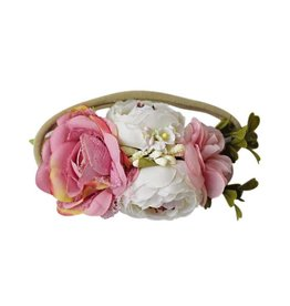 Floral Stretch Headband, Dusty Pink & Ivory