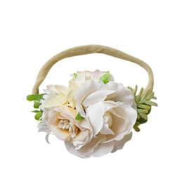 Floral Stretch Headband, Ivory Rose