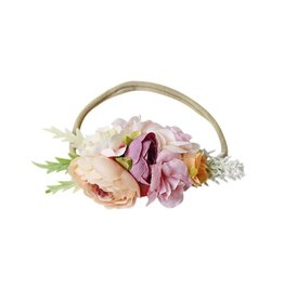 Floral Stretch Headband, Pink & Peach