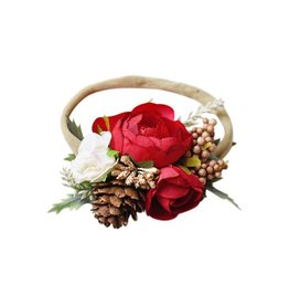 Floral Stretch Headband, Red