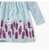 Smocked Graphic Baby Dress, Sterling Blue