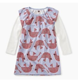 Printed Layered Flutter Dress, Cardinal Bird