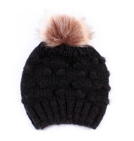 Winter Beanie w Pom, Black