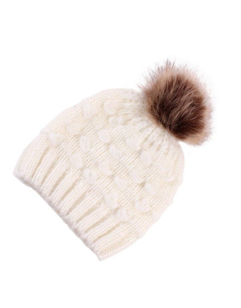 Winter Beanie w Pom, Ivory