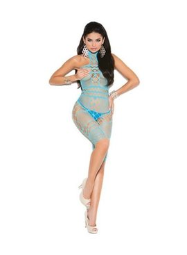 Elegant Moments Crochet Halter Bodystocking