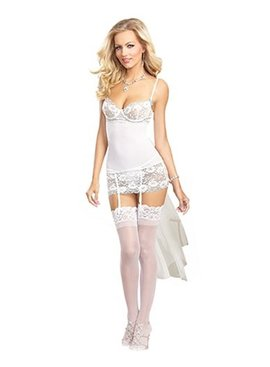 Dreamgirl Bridal Garterslip with Lace Stockings