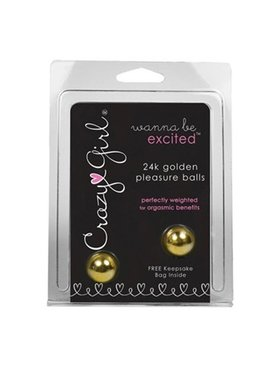 1 Crazy Girl Wanna Be Excited Pleasure Balls - Gold