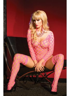 L Web Kiss Hot Pink Teddy and Stockings Set