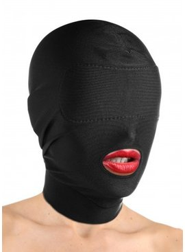 Masters Disguise Open Mouth Hood with Padded Blindfold