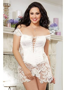 Dreamgirl Beyonce Faux Leather White Corset (40)