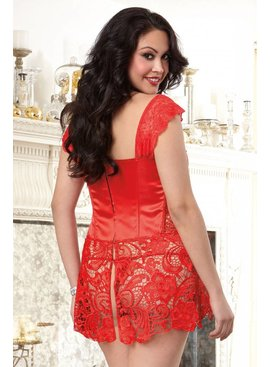 Dreamgirl Beyonce Red Faux Leather Corset (36)
