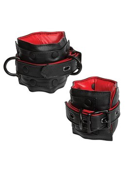 KINK - Leather Ankle Restraints - Black & Red