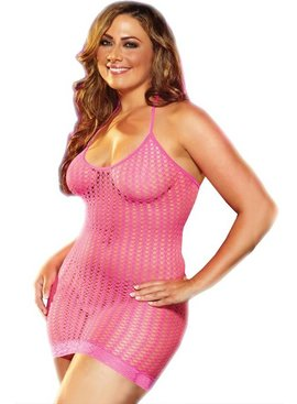 L Dancer Xgen Pink Lace Fishnet Mini Dress
