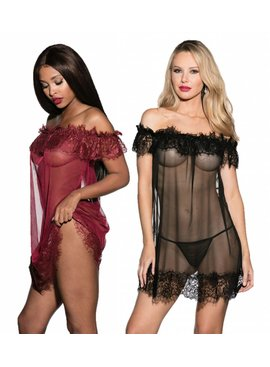 L Floor Babydoll Shirley of Hollywood Cold Shoulder Babydoll