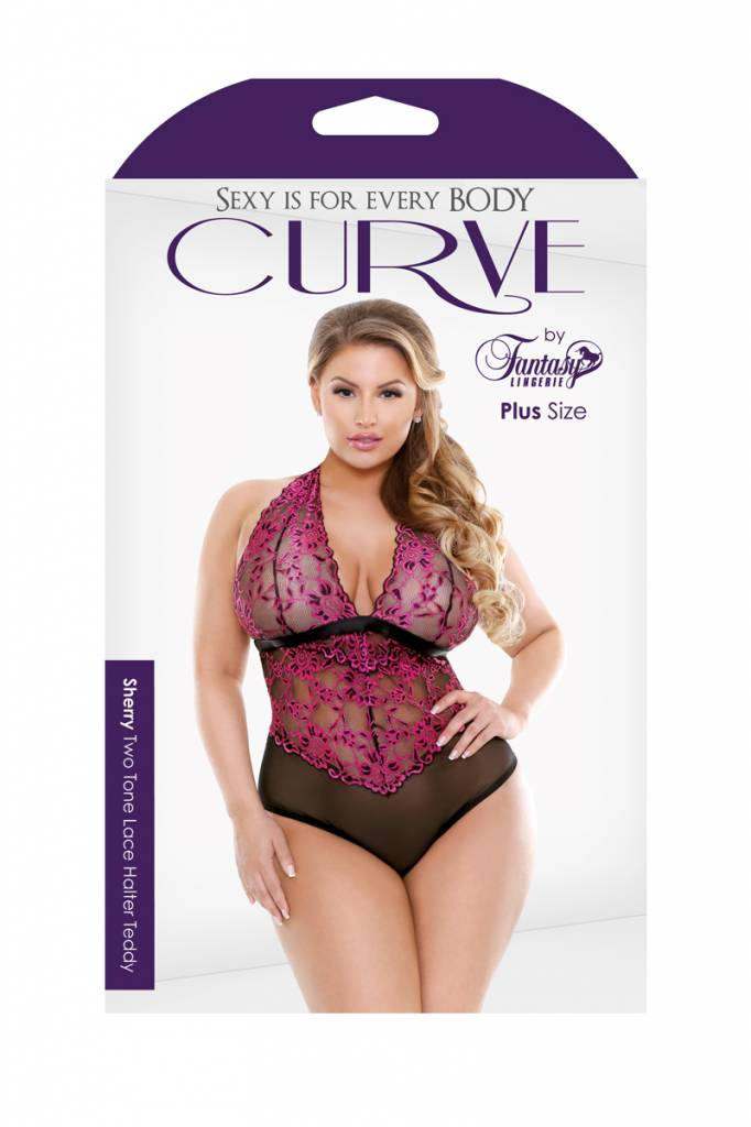 Fantasy Lingerie Sherry Two-Tone Lace Halter Teddy - Curve