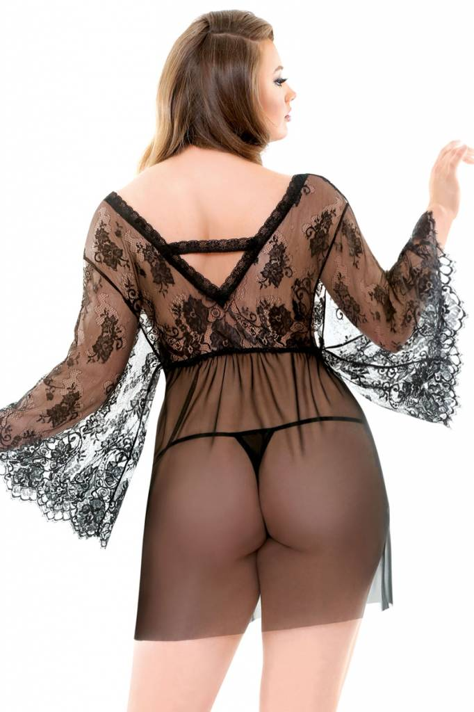Fantasy Lingerie Courtney Lace Robe & G-String - Curve