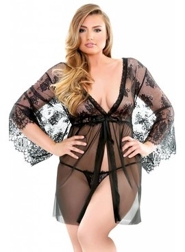 Fantasy Lingerie Courtney Lace Robe & G-String